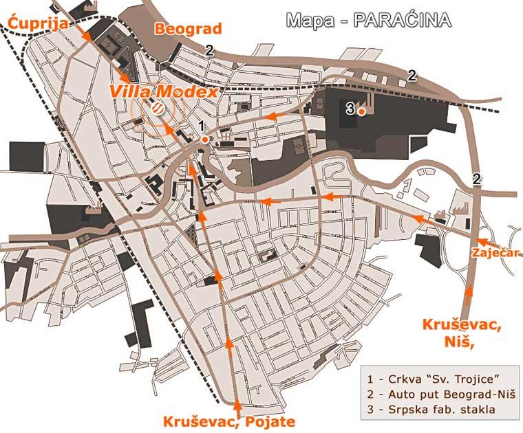 mapa paracina Villa Modex :..: Lokacija mapa paracina